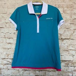 Adidas Sz L Short Sleeve Golf Top Pockets